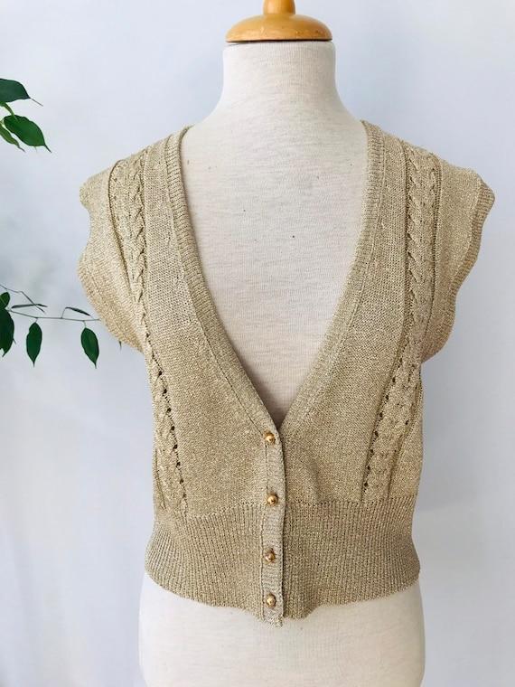 Vintage sweater vest / sleeveless vest, gold meta… - image 2