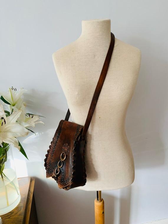 Vintage brown tooled leather boho bag, purse bohem