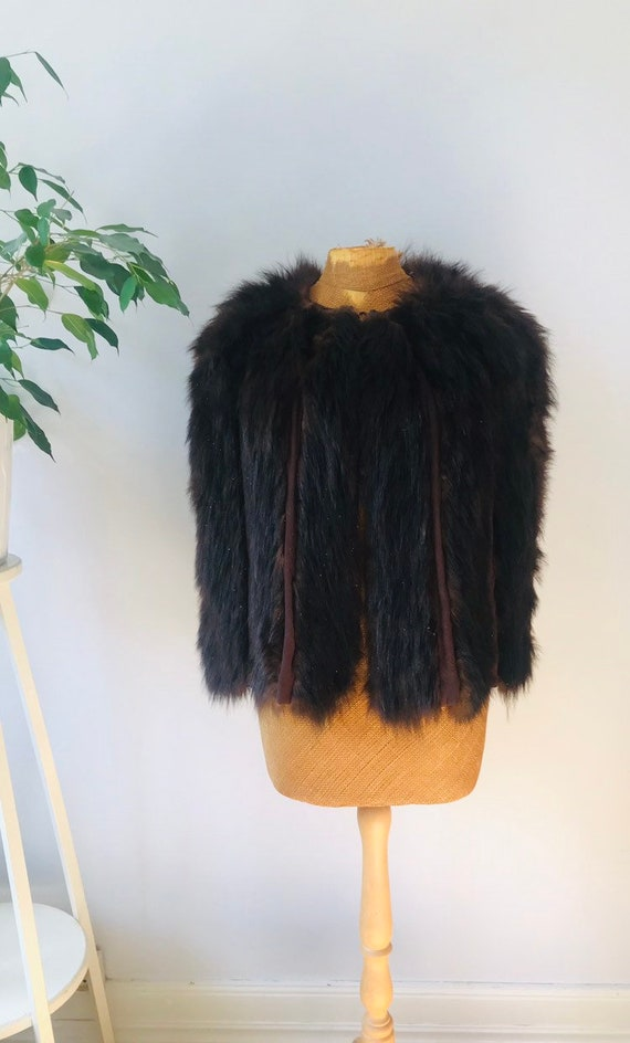 Ladies vintage fur cape jacket, boho chic, glam ro