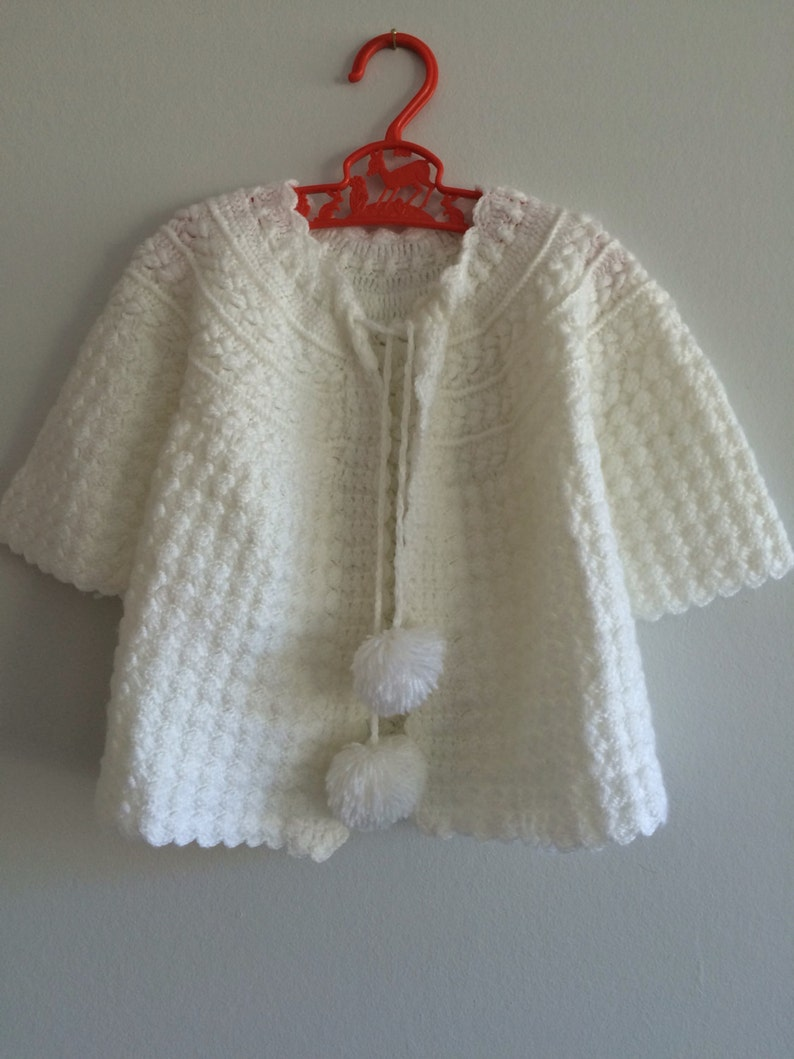 b9a23dc46 Vintage baby girls white knitted sweater jumper crochet | Etsy