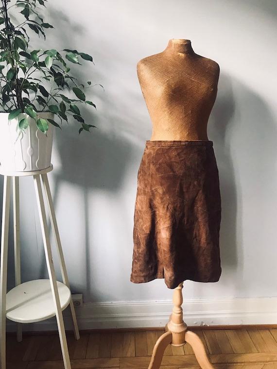 Vintage suede leather patchwork skirt