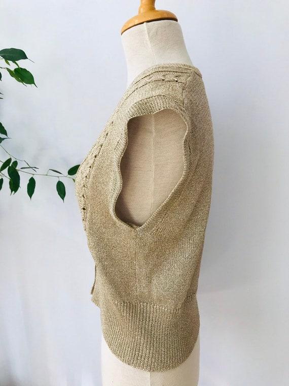Vintage sweater vest / sleeveless vest, gold meta… - image 4