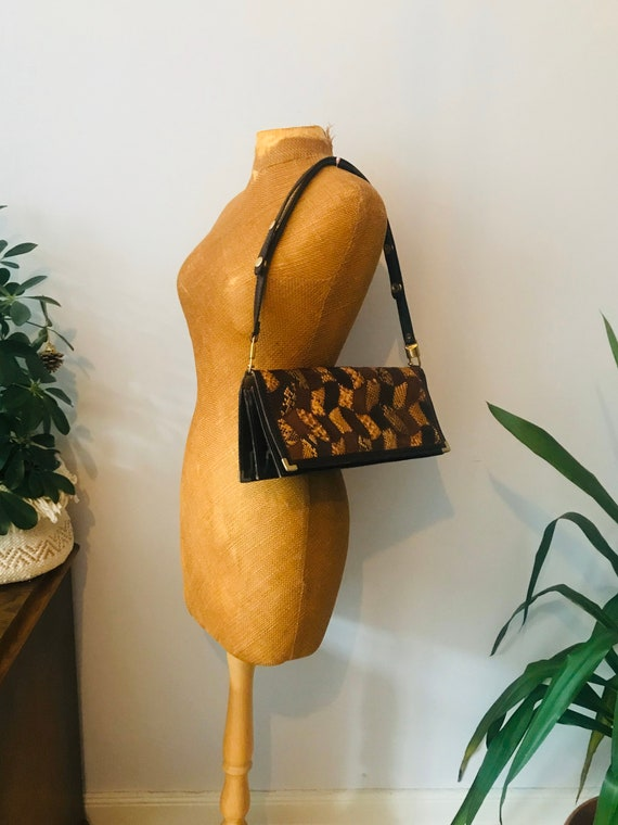 Vintage brown snakeskin leather patchwork boho bag