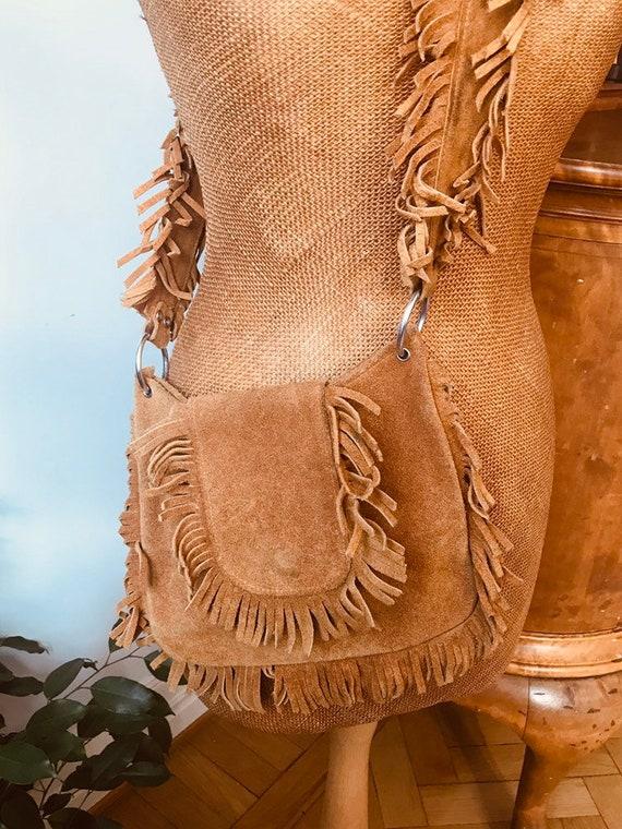 Vintage suede leather bag boho purse fringe 1960s