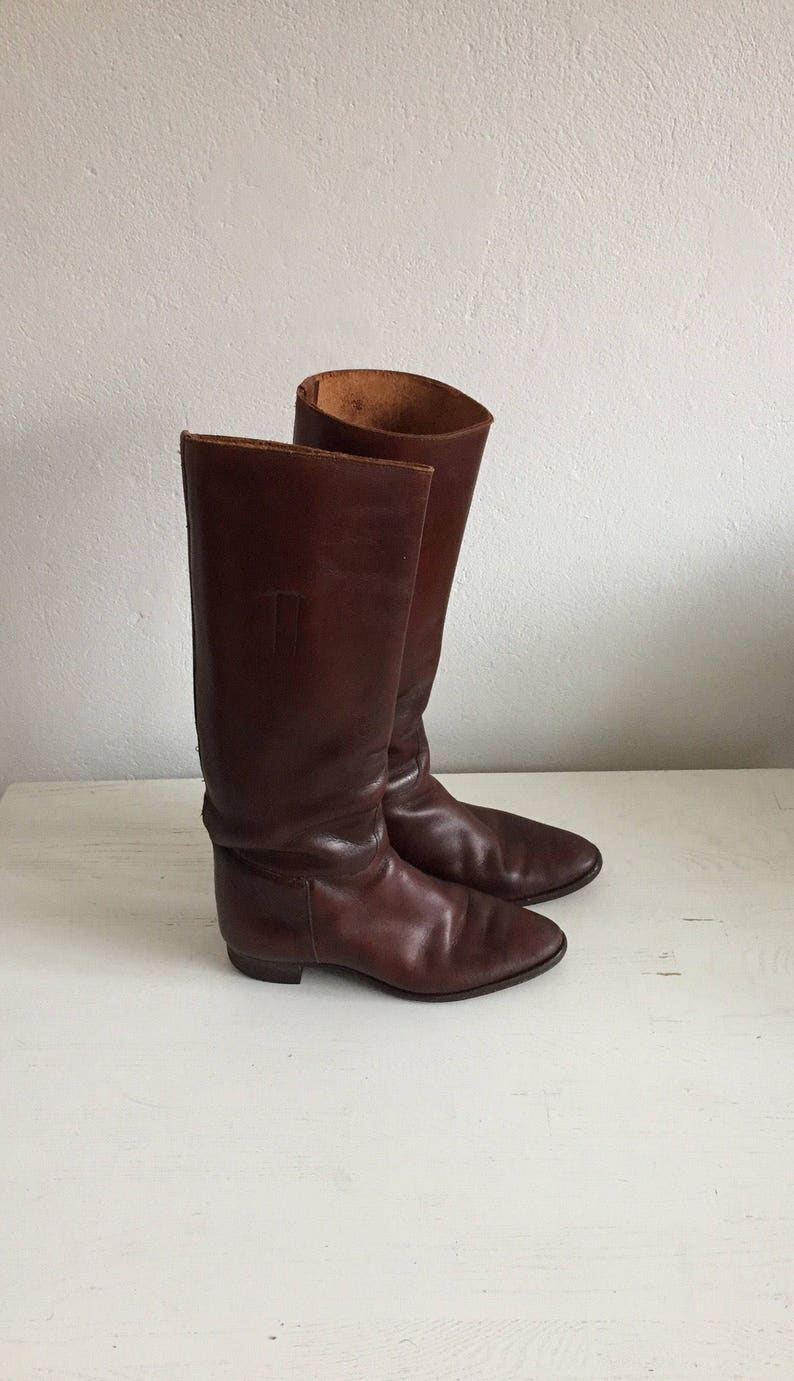 58499e9fdacf8 Vintage brown leather womens boots, riding boots, rustic, boho, size  37/size 38