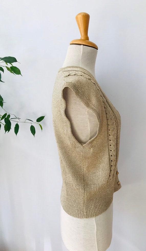 Vintage sweater vest / sleeveless vest, gold meta… - image 3