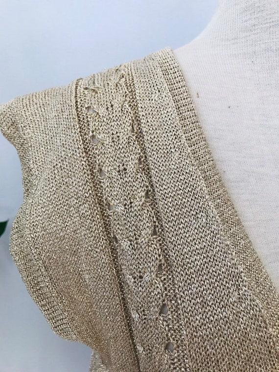Vintage sweater vest / sleeveless vest, gold meta… - image 6