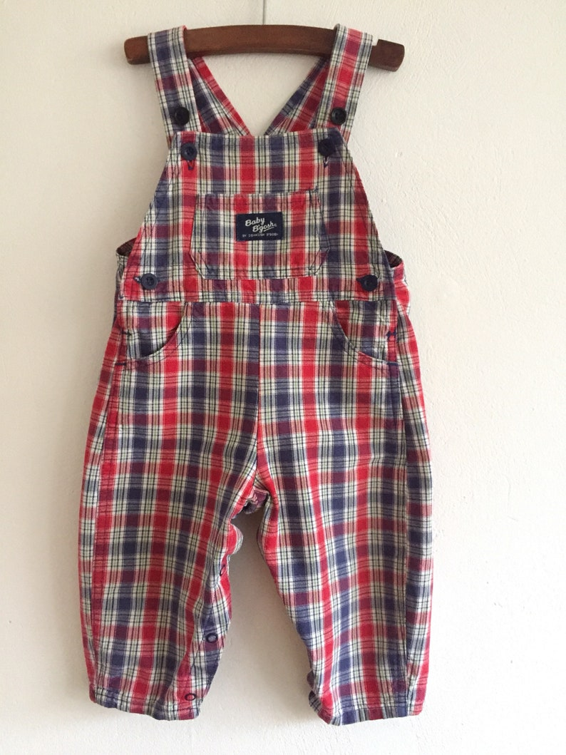 d2f7e4ced89 Vintage baby boys girls OshKosh overalls plaid cotton denim