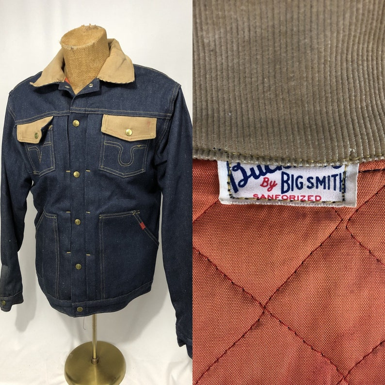 f8031d9b6d5 1960 s Big Smith Buckaroo Pleated Denim Jacket Lined Jean