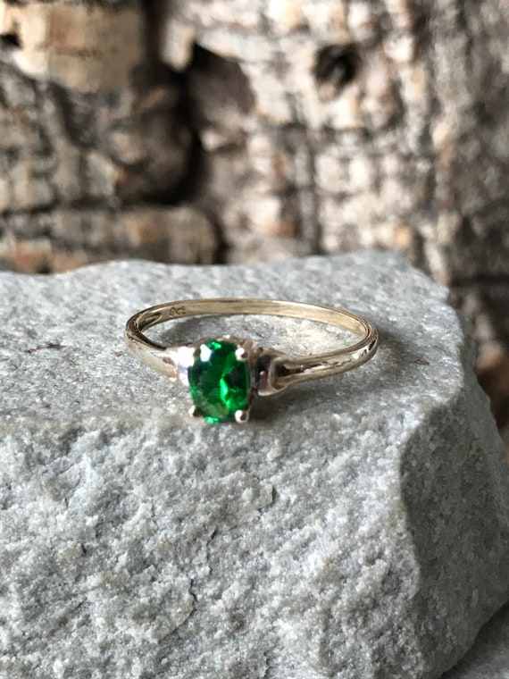 A Simple Solitaire Russian Diopside Ring    SKU264