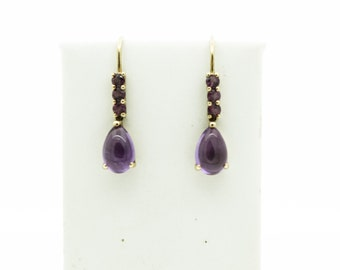 9ct Gold Amethyst and Pink Tourmaline Earrings   SKU866