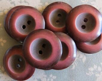 Set of 9 vintage concaved brownish big buttons
