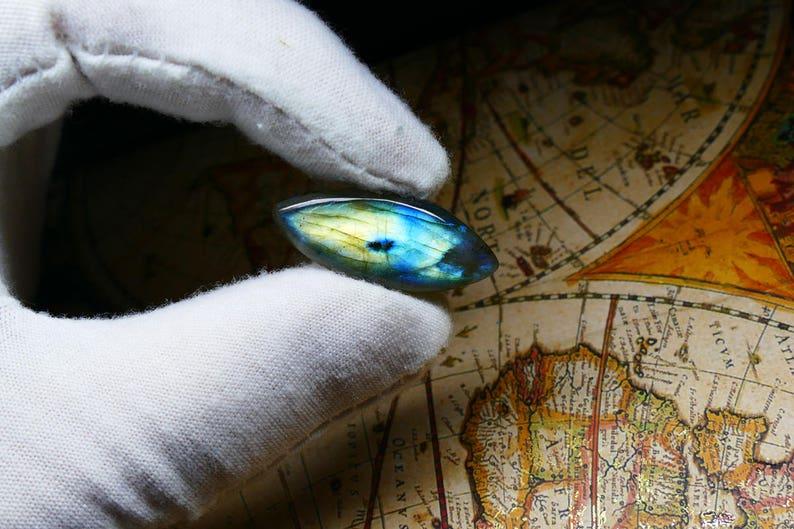 Marquise Labradorite Gemstone Cabochon ~ 30x13 mm