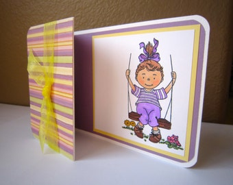 Handmade Tri-Fold Card with Little Girl on a Swing