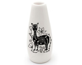 Handmade Illustrated Llama Ceramic Vase