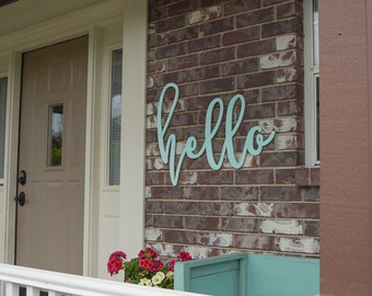 """29""""x23"""" Unfinished Hello MDF Word Cutout 