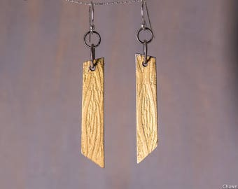 24k Gold Sterling Silver Textured Strip Earrings