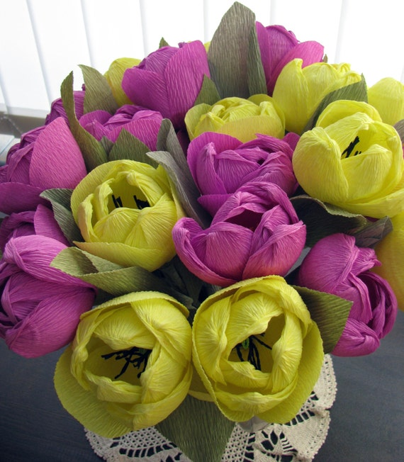 Crepe paper flowers yellow purple tulips wedding bouquet etsy image 0 mightylinksfo
