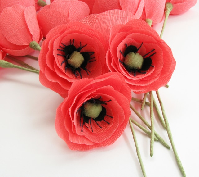 Coral crepe paper flower coral poppies wedding flower etsy image 0 mightylinksfo