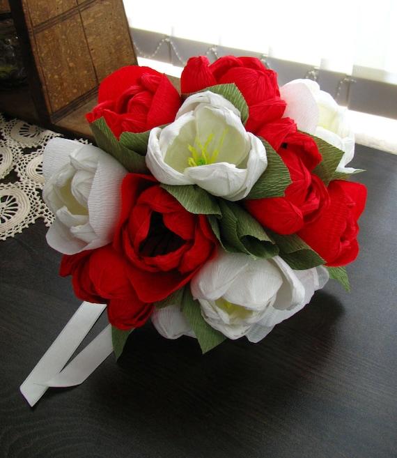 Red White Tulips Wedding Bouquet Paper Flower Centerpiece Etsy