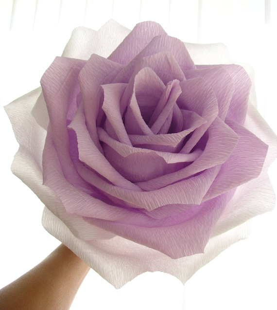 Giant Paper Flower 9 Giant Rose Two Tone Flower Lilac Etsy