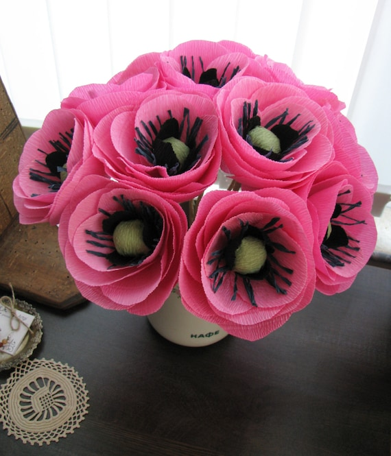 Pink Poppy Crepe Paper Flower Pink Paper Poppies Pink Paper Etsy