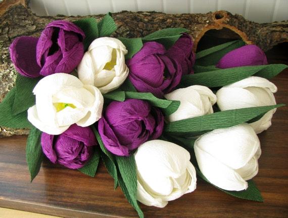 Weiss Lila Tulpen Krepp Papier Blumen Brautstrauss Wedding Etsy