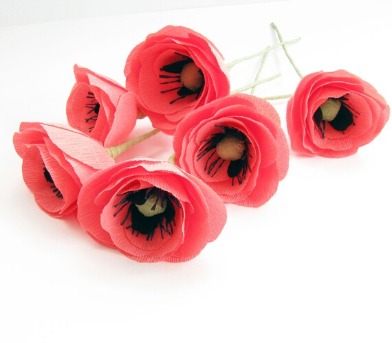 Pink Crepe Paper Flower Pink Poppies Wedding Flower Pink Etsy