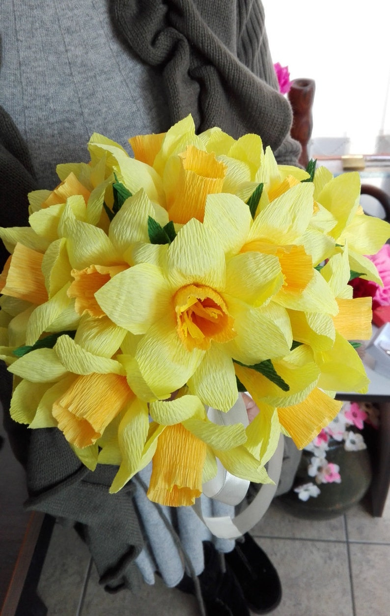 Wedding bouquet Paper flower Yellow Daffodil Centerpiece Table image 0