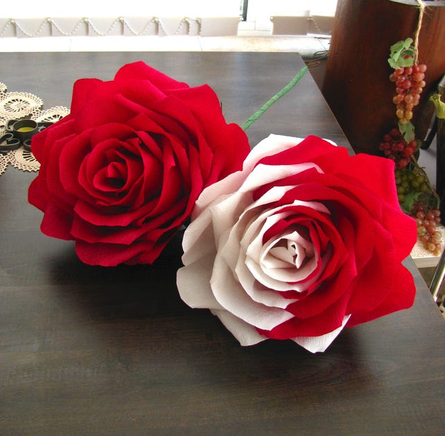 Giant paper flower two tone rose dark red white roses bridal etsy image 0 mightylinksfo