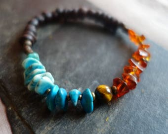 Water Earth and fire stone bracelet