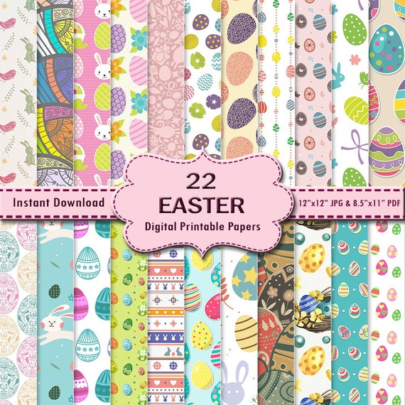Easter Scrapbook Paper Background Graphic Printable 22 Digital Etsy