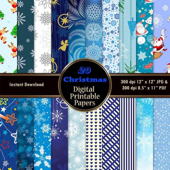 Navidad Digital Papeles 20 Azul Digital Scrapbook Papel Pack Etsy