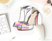 Christian Louboutin Shoes Mousepad Mouse Pad Round pretty desk accessories girly mouse pad Abstract Art