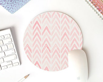 pink mousepad | round mousepad | mouse pad chevron | mouse pad tribal | mouse pad pink | cute mouse pad | cute desk accessories | desk decor