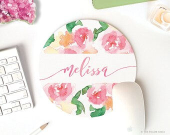 cute desk accessories custom mouse pad | personalized mousepad | mouse pad monogram watercolor mouse pad | cute mouse pad | mouse pad round