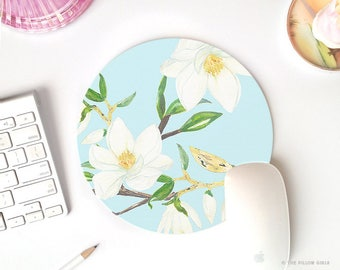 vintage mouse pad | magnolia flowers | mouse pad gold & blue | cute mouse pad | mouse pad round pretty desk accessories