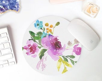 watercolor mouse pad | mouse pad | white mousepad | mouse pad purple | cute mouse pad | mouse pad round | pretty desk accessories