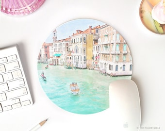 mouse pad Venice | travel mousepad | mousepad round | chic office decor cute desk accessories | pretty mousepad watercolor | mouse pad Italy