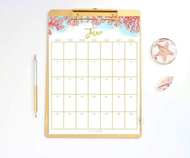 Printable calendar June calendar printable | digital download | wedding  printable | monthly calendar printable | monthly printable