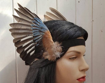 Valkyrie style Beautiful real taxidermy jay bird wings headband, valkyrie, steampunk, festival, party, headpiece MADE TO ORDER