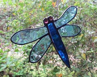 Stained Glass Dragonfly Suncatcher, Glass Dragonfly,Dragonfly Suncatcher,Blue Dragonfly,