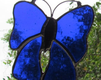 Stained Glass  Blue Butterfly  Suncatcher  Gifts Butterfly Decor