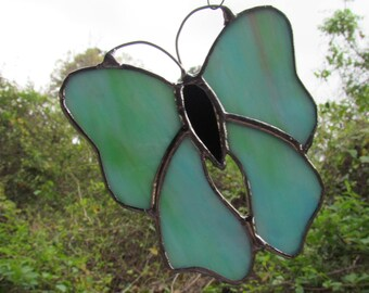 Stained Glass  Blue Green Butterfly  Suncatcher  Gifts Butterfly Decor