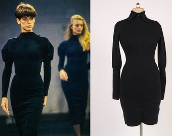 RARE and Collectible 1980s ALAIA Black Jersey Dress - Size S