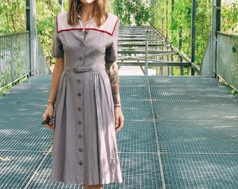 1940's Grey and Burgundy Midi dress - 40s Dress with pockets - Size S #951