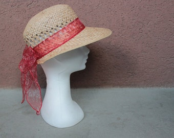 1960's Visor Straw Hat - 60's Visor Beach Straw Hat - Size S