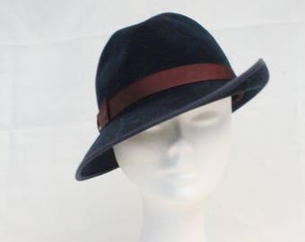 1950's Navy Blue Side Felt Hat