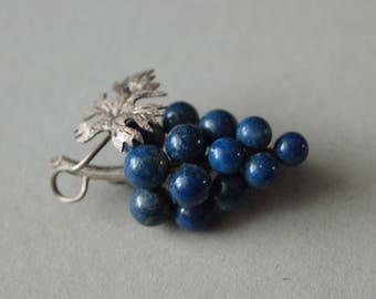 1920's.-1930's Grappes Lapis Lazuli and Silver Brooch