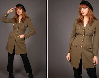 Early 1990's DONNA KARAN Military Jacket - 90's Long Donna Karan New York Green and Gold Jacket - Size S